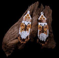 Native American Style Beaded Earrings - Butterfly Design