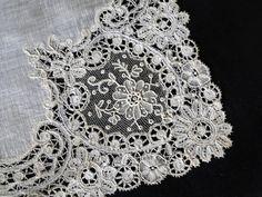 Buyer & Seller of Antique Lace, Fine Linens, Vintage Clothing, Haute Couture, Textiles, Fans: BRUSSELS LACE HANDKERCHIEF W/POINT DE GAZE LACE