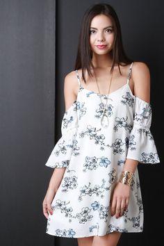 Cold Shoulder Floral Shift Dress