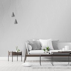 Motion Geo Wave Wallpaper Grey - Wallpaper from I Love Wallpaper UK Waves Wallpaper, Grey Wallpaper, Living Area, Living Room, Wave Pattern, Girls Bedroom, Geo, Art Deco, Luxury
