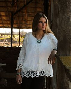 Simple Summer White Lace Scoop Neck 3/4 Sleeve Cotton Top