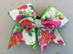 """3"""" Beautiful Hawaiian Floral  & Crystal AB Rhinestone Pageant Cheer Bow with signature BBM Crystal Detail by TheBlingBlingMafia on Etsy https://www.etsy.com/listing/244133056/3-beautiful-hawaiian-floral-crystal-ab"""