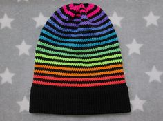 Knit Hat  Neon Rainbow Stripes  Black  Slouchy Beanie