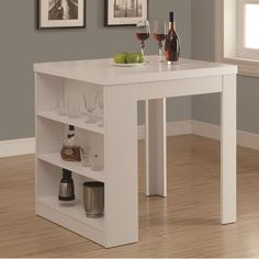 Monarch Specialties Counter Height Dining Table White Storage Pub& Table-I 1345 - The Home Depot Kitchen Table With Storage, Dining Table In Kitchen, Island Kitchen, Table Storage, Dining Sets, Small Dining, Table Desk, Dining Area, Kitchen Ideas