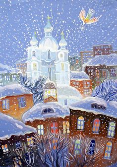 Beautiful Dream, Beautiful Images, Winter Illustration, Illustration Art, School Art Projects, Christmas Mood, Winter Art, Naive Art, Salvador