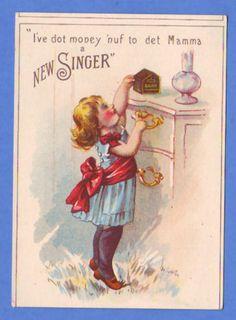 Victorian Trade Card Singer Sewing Machines Girl Savings Bank | eBay