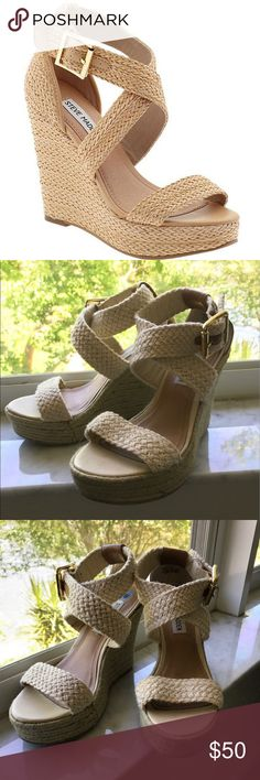 Steve Madden cream wedges Has lots of life left but have been used numerous times. Please ask questions ! Thanks . Reasonable offers only in the offer button not the comments. Steve Madden Shoes Espadrilles