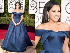 Gina Rodriguez at the 2016 Golden Globes in a deep blue pocketed princess gown from Zac Posen with Neil Lane jewels.