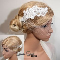 Bridal Comb / Clip Blusher Birdcage Veil Wedding Lace Fascinator Headpiece HB206