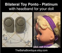 2 TOY Hearing Aids & 1 Softband for Doll - Bilateral Oticon Ponto - Platinum by TheBahaBowtique on Etsy https://www.etsy.com/listing/597625574/2-toy-hearing-aids-1-softband-for-doll