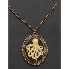 Pendentif Steampunk Gothique Camée Octopus