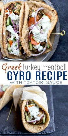 30 Minute Greek Turkey Meatball Gyros topped with a classic Tzatziki Sauce you'll want to swim in! These Gyros are the perfect healthy dinner option for the family and clock in 429 calories! #healthy...