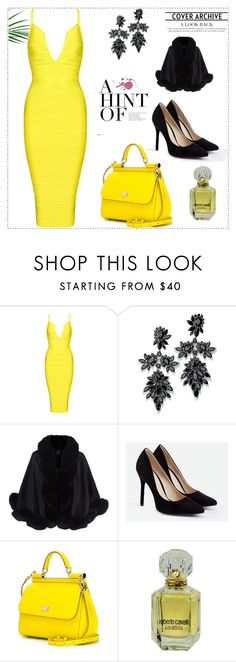 """Yellow night!"" by mireille-a ❤ liked on Polyvore featuring Fallon, Harrods, JustFab, Dolce&Gabbana and Roberto Cavalli"