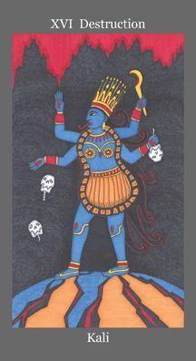 XVI. The Tower (Kali) - Dark Goddess Tarot by Ellen Lorenzi Prince