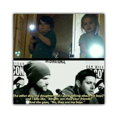 Jensen's daughter can have my heart. I love that he told this story. Her boys!! I can't even handle this!!!