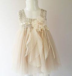 Cream  Baby Tulle Dress with Empire Waist and Stretch Crochet Top.Tulle dress  for girls with lace crochet bodice on Etsy, $50.00