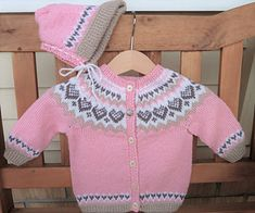 Ravelry: Baby Annabell pattern by Trine Lise Høyseth - Knitting Projects for Kids Crochet Baby Sweaters, Baby Sweater Patterns, Baby Cardigan Knitting Pattern, Fair Isle Knitting Patterns, Crochet Baby Cardigan, Knitted Baby Clothes, Baby Girl Crochet, Crochet Baby Booties, Baby Patterns