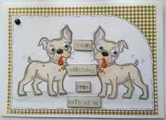 Focus on Papercraft: Crazy Dogs, birthday card with a mirror stamped te...