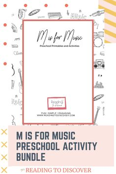 M is for Music Preschool Activities and Printables.  Fun and engaging book-based preschool activities and printables. Repin and download the freebie from readingtodiscover.com. These activities include music playlists and book ideas for your preschooler or kindergartener.  #readingtodiscover #preschoolactivities #musicpreshoolactivity #musicactivity #alphabetactivity #lettermpreschoolactivity #mactivity Letter M Activities, Movement Activities, Music Activities, Preschool Songs, Preschool Printables, Preschool Activities, Toddler Learning, Toddler Preschool, Book Letters