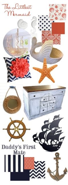 Sea inspired Nursery for boy/girl twins. Coral and Navy. Weathered white furniture.