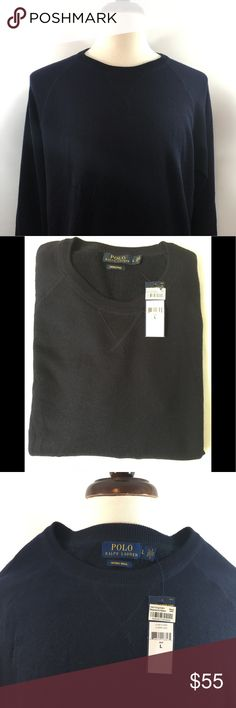 Men's NWT Ralph Lauren Merino Wool Sweater Men's Polo Ralph Lauren Large Merino Wool Sweater. New With Tags! In navy blue and crewneck design Sweater. Comes from a pet free and smoke free home. Thanks for shopping my closet! Polo by Ralph Lauren Sweaters Crewneck