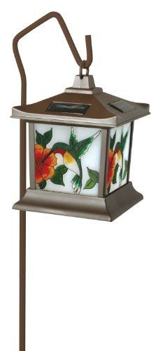 Moonrays 92271 Hummingbird Style Solar Light, Stained Glass Outdoor Lamp, Hummingbird, Stained Glass by Moonrays. $19.97. Amazon.com                     This solar-powered LED outdoor lamp is part of the Moonrays Birds of North America collection and features hand-painted stained glass hummingbirds on each lens panel (view larger).   The Moonrays 92271 solar-powered stained glass outdoor lamp with hand-painted hummingbirds is the perfect addition to any bird l...