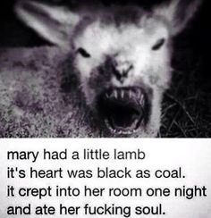 """""""mary had a little lamb, it's heart was black as coal.  it crept into her room one night and ate her fucking soul"""""""