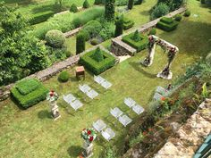 Birds eye view of an intermate French ceremony that M and C styled last week. Outdoor Weddings, Birds Eye View, Stepping Stones, French, Outdoor Decor, Style, Swag, Stair Risers, French People