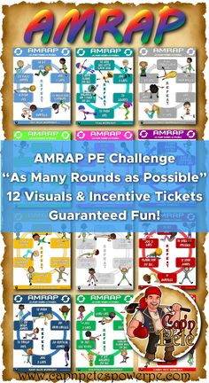 PE Activity: AMRAP (As Many Rounds as Possible)- 12 Visuals & Incentive Tickets - Coach Parker - Education Pe Activities, High School Activities, Fitness Activities, Physical Activities, Fitness Games, Movement Activities, Pe Teachers, Classroom Teacher, Amrap Workout