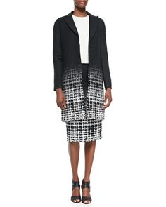 Raoul Long Plaid Tailored Coat, Lidy Boucle Cocoon Top & Fading Plaid Pencil Skirt