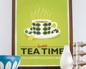 Kitchen Art print Tea print  cup print Scandinavian poster - Stig LIndberg - Swedish tea time A3