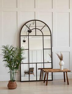 Arched Window Mirror, Entryway Mirror, Arch Mirror, Window Mirror Decor, Full Length Mirror Entryway, Large Mirror Decor, Floor Mirrors, Chesterfield Corner Sofa, Mirror Decor Living Room