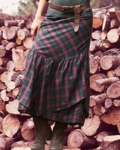 [Pair this with a warm cozy grey sweater and grey knit tights - Long Ruffled Skirt - meke]