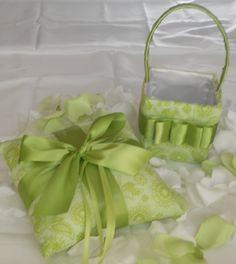 Green ring bearer pillow and flower girl basket