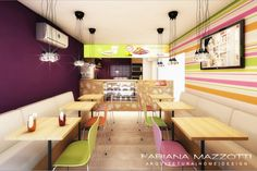 Projeto Loja Açaí - Fabiana Mazzotti - Arquiteta Porto Alegre Cafe Interior Design, Modern Interior, Cafeteria Decor, Don Papa, Juice Bar Design, Small Restaurant Design, Restaurant Pictures, Small Restaurants, Cafe Shop