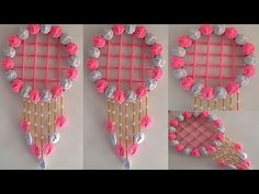 Diy Crafts Hacks, Diy Crafts For Gifts, Easy Diy Crafts, Diy Projects, Wool Wall Hanging, Wall Hanging Crafts, Pista Shell Crafts, Twine Crafts, Woolen Craft