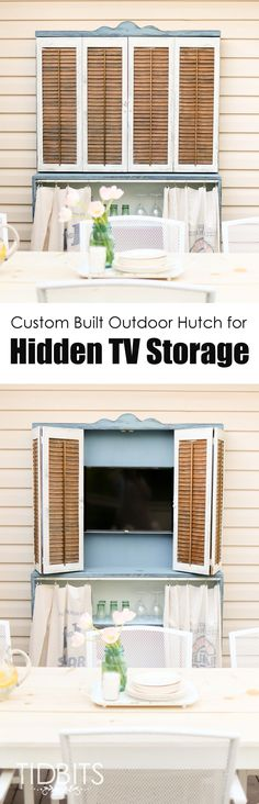 A custom built outdoor hutch for hidden TV storage.  Deck makeover by TIDBITS.