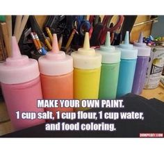 Make Your Own Paint diy diy ideas easy diy kids crafts interesting tips life hacks life hack crafts for kids activities for kids good to know Cute Crafts, Diy Crafts For Kids, Arts And Crafts, Diy Projects For Teens, Creative Crafts, Easy Crafts, Paper Crafts, Summer Crafts, Summer Fun