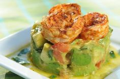 Cool, creamy refreshing Avocado Chopped Salad topped with spicy grilled shrimp for a cool, creamy and flavorful summer salad.