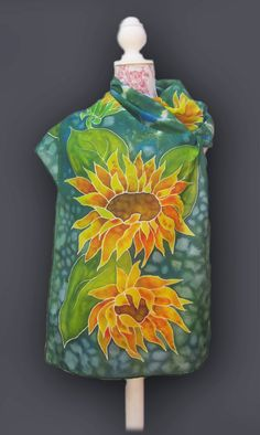 Sunflowers Hand Painted Silk Scarf. Spring by SilkPaintingAu