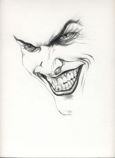 drawing of the joker in pencil
