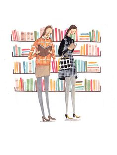 """""""All Quiet in the Library"""" print by Emma Block"""