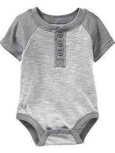 Short-Sleeved Henley Bodysuits for Baby | Old Navy