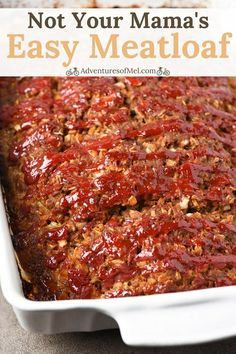 Not your mama's meatloaf recipe. Packed full of amazing flavor, my family love… Not your mama's meatloaf recipe. Packed full of amazing flavor, my family loves this easy meatloaf recipe so much. It makes the best meatloaf sandwiches too. Best Meatloaf Recipe With Oatmeal, Classic Meatloaf Recipe, Good Meatloaf Recipe, Meat Loaf Recipe Easy, Meat Recipes, Crockpot Recipes, Cooking Recipes, Meatloaf With Oats, Mini Meatloaf Recipes