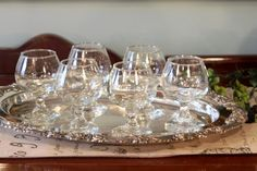 Reed & Barton Silver Plate Serving Tray - Oval Serving Platter Burgundy Pattern -  6 Small Brandy Snifters - Ornate Chased Serving Tray
