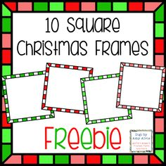 Christmas Square Checkerboard Frames FREEBIE- 10 Borders - 5 Different Colors