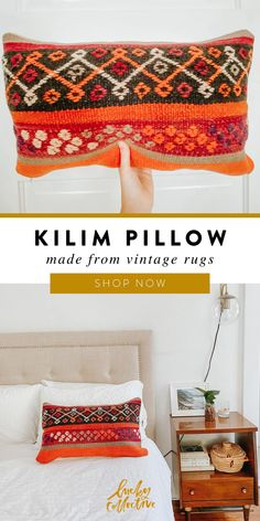 One-of-a-kind Moroccan kilim pillow made from vintage rugs. Lucky Collective #LuckyCollective How To Make Pillows, Bohemian Living Room Decor, Fringe Pillows, Kilim Pillows, Moroccan Throw Pillow, Pillows, Handmade Kilim, Vintage Rugs, Throw Pillows Living Room
