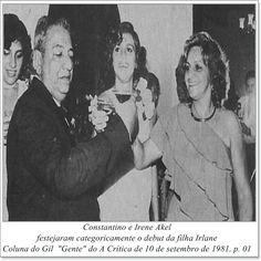 """Constantino e Irene Akel. Coluna do Gil """"Gente"""" do A Crítica de 10 de setembro de 1981."""