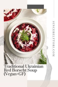Traditional Ukrainian Red Borscht Soup (Vegan GF)A classic soup in Eastern Europe, this borscht can be prepared a number of ways. This version is vegan and gluten free. So healthy!