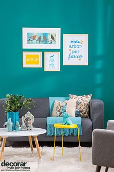 model home decor Living Room Turquoise, Colourful Living Room, Living Room Colors, Living Room Designs, Living Room Decor, Bedroom Decor, Bedroom Wall Colors, Room Paint Colors, Teal Walls
